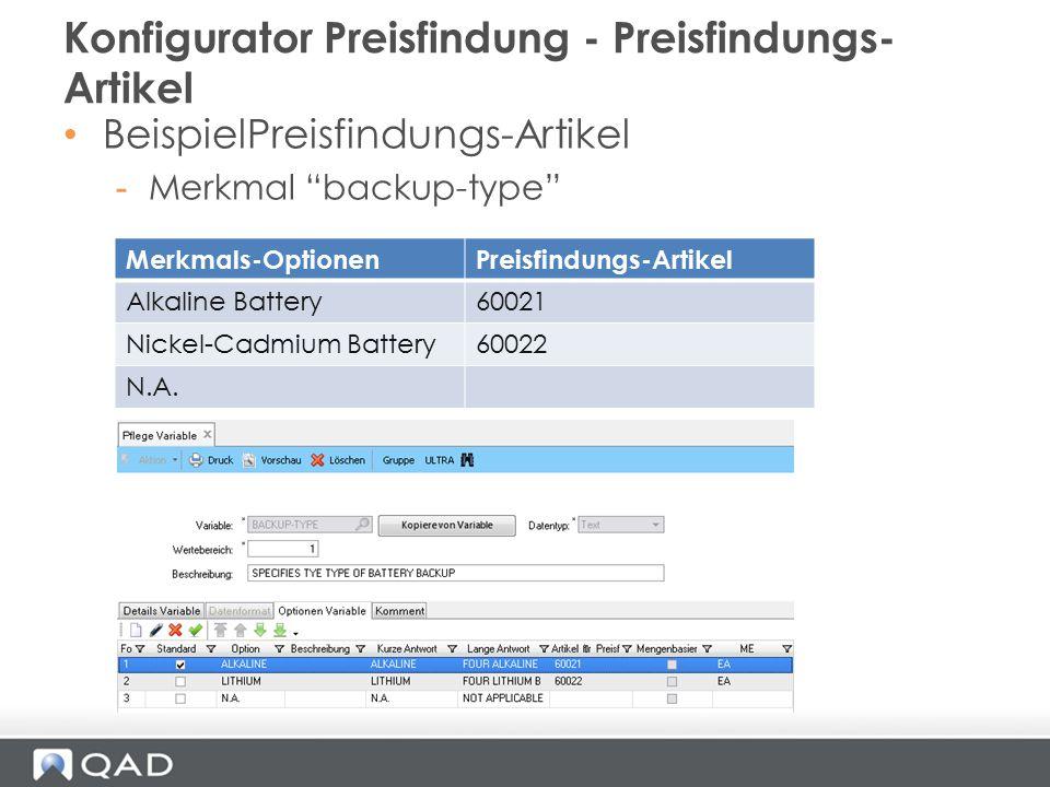 """BeispielPreisfindungs-Artikel -Merkmal """"backup-type"""" Konfigurator Preisfindung - Preisfindungs- Artikel Merkmals-OptionenPreisfindungs-Artikel Alkalin"""