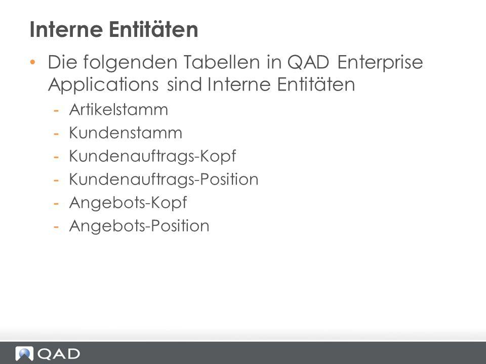 Die folgenden Tabellen in QAD Enterprise Applications sind Interne Entitäten -Artikelstamm -Kundenstamm -Kundenauftrags-Kopf -Kundenauftrags-Position