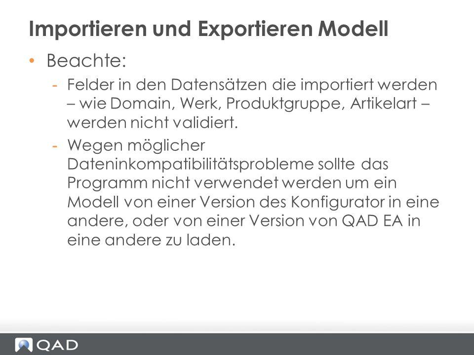Beachte: -Felder in den Datensätzen die importiert werden – wie Domain, Werk, Produktgruppe, Artikelart – werden nicht validiert. -Wegen möglicher Dat