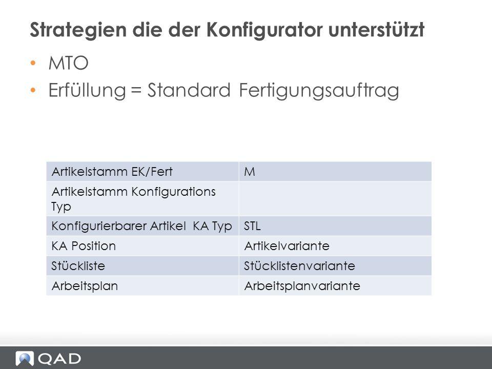 MTO Erfüllung = Standard Fertigungsauftrag Strategien die der Konfigurator unterstützt Artikelstamm EK/FertM Artikelstamm Konfigurations Typ Konfiguri