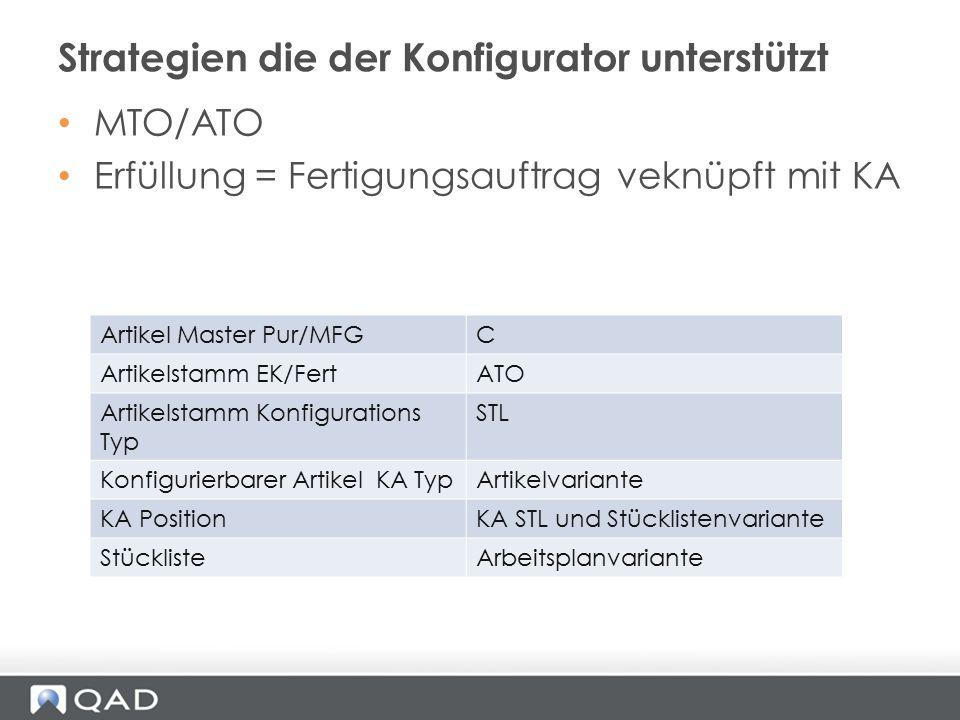 MTO/ATO Erfüllung = Fertigungsauftrag veknüpft mit KA Strategien die der Konfigurator unterstützt Artikel Master Pur/MFGC Artikelstamm EK/FertATO Arti