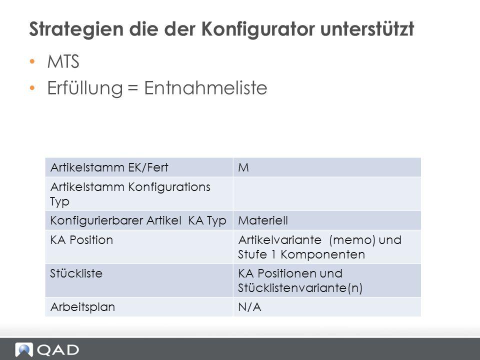 MTS Erfüllung = Entnahmeliste Strategien die der Konfigurator unterstützt Artikelstamm EK/FertM Artikelstamm Konfigurations Typ Konfigurierbarer Artik