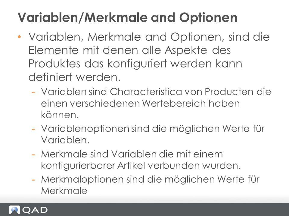 Variablen, Merkmale and Optionen, sind die Elemente mit denen alle Aspekte des Produktes das konfiguriert werden kann definiert werden. -Variablen sin