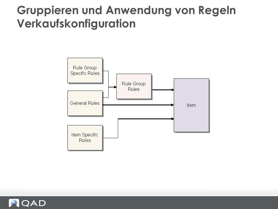 Gruppieren und Anwendung von Regeln Verkaufskonfiguration