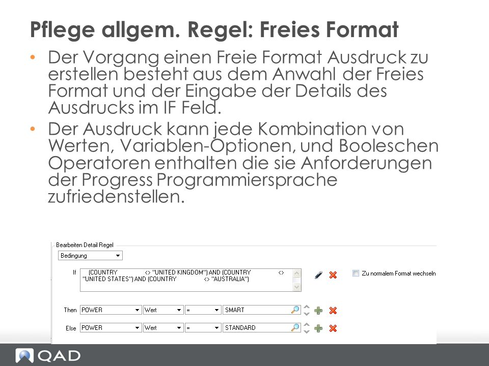 Der Vorgang einen Freie Format Ausdruck zu erstellen besteht aus dem Anwahl der Freies Format und der Eingabe der Details des Ausdrucks im IF Feld. De