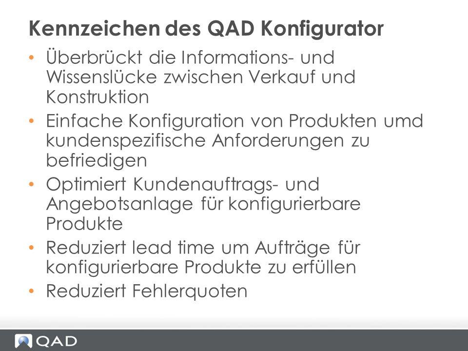 Überbrückt die Informations- und Wissenslücke zwischen Verkauf und Konstruktion Einfache Konfiguration von Produkten umd kundenspezifische Anforderung
