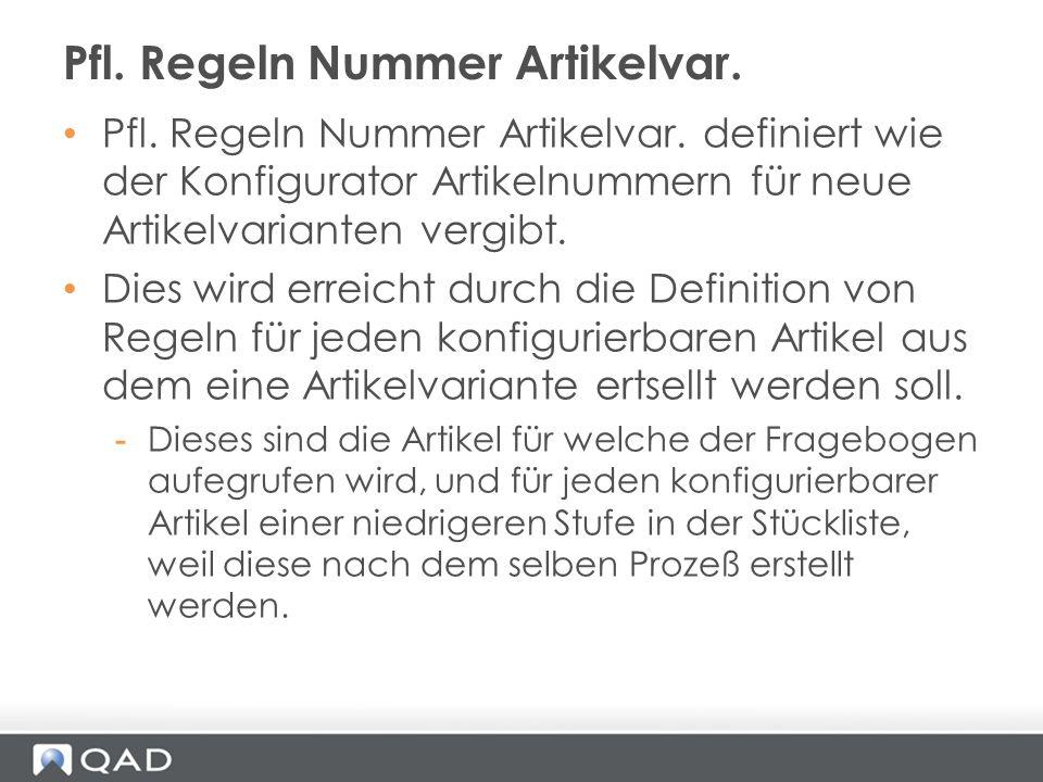 Pfl. Regeln Nummer Artikelvar. definiert wie der Konfigurator Artikelnummern für neue Artikelvarianten vergibt. Dies wird erreicht durch die Definitio