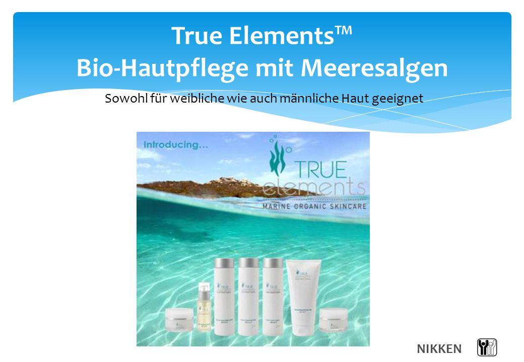 NIKKEN True Elements™ Bio-Hautpflege mit Meeresalgen Sowohl für weibliche wie auch männliche Haut geeignet
