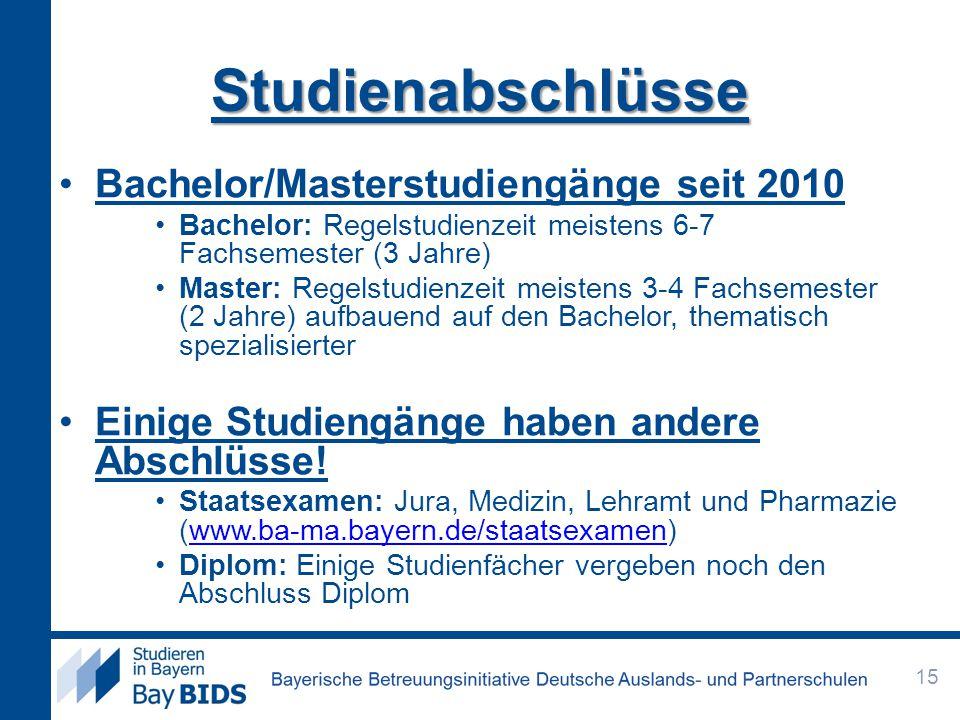 Studienabschlüsse Bachelor/Masterstudiengänge seit 2010 Bachelor: Regelstudienzeit meistens 6-7 Fachsemester (3 Jahre) Master: Regelstudienzeit meistens 3-4 Fachsemester (2 Jahre) aufbauend auf den Bachelor, thematisch spezialisierter Einige Studiengänge haben andere Abschlüsse.