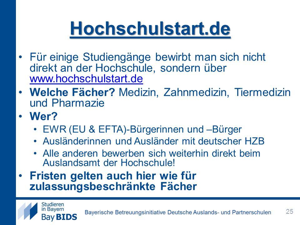 Hochschulstart.de Für einige Studiengänge bewirbt man sich nicht direkt an der Hochschule, sondern über www.hochschulstart.de www.hochschulstart.de Welche Fächer.