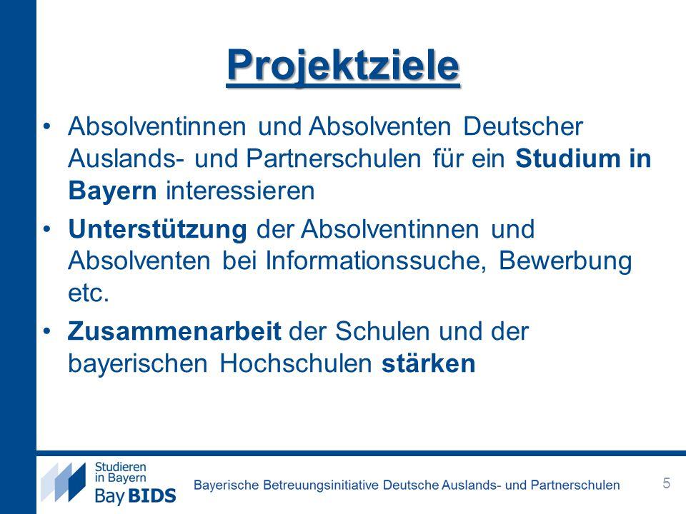 Projektziele Absolventinnen und Absolventen Deutscher Auslands- und Partnerschulen für ein Studium in Bayern interessieren Unterstützung der Absolventinnen und Absolventen bei Informationssuche, Bewerbung etc.
