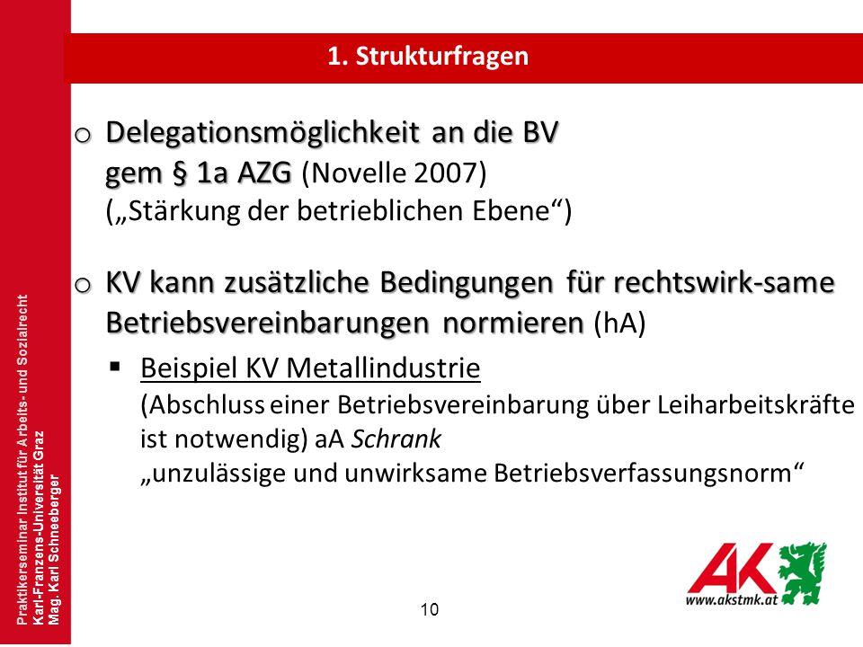 """10 o Delegationsmöglichkeit an die BV gem § 1a AZG o Delegationsmöglichkeit an die BV gem § 1a AZG (Novelle 2007) (""""Stärkung der betrieblichen Ebene"""")"""