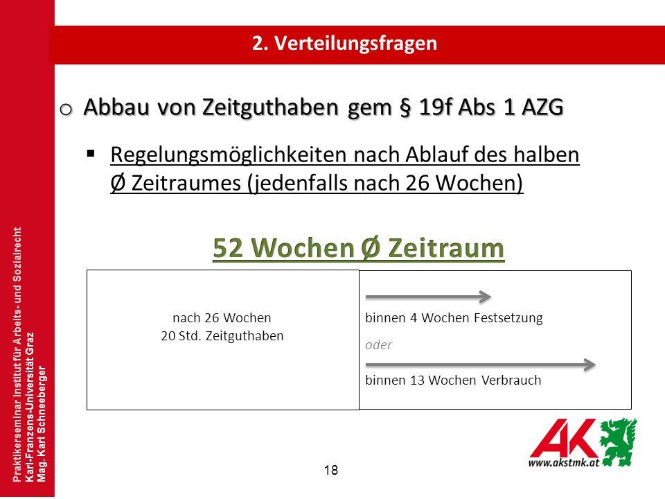 18 o Abbau von Zeitguthaben gem § 19f Abs 1 AZG  Regelungsmöglichkeiten nach Ablauf des halben Ø Zeitraumes (jedenfalls nach 26 Wochen) Praktikersemi