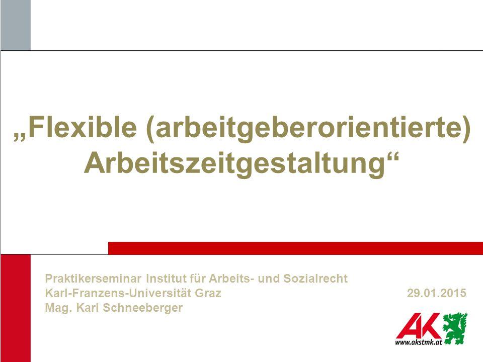 """""""Flexible (arbeitgeberorientierte) Arbeitszeitgestaltung"""" Praktikerseminar Institut für Arbeits- und Sozialrecht Karl-Franzens-Universität Graz29.01.2"""