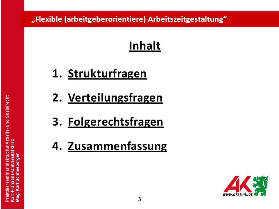"""3 Praktikerseminar Institut für Arbeits- und Sozialrecht Karl-Franzens-Universität Graz Mag. Karl Schneeberger """"Flexible (arbeitgeberorientiere) Arbei"""