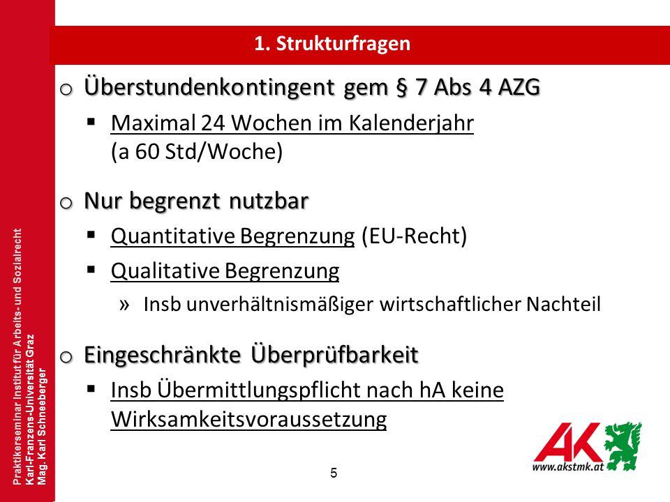 """6 o Überstunden gem § 7 Abs 4 AZG  Keine Blankoermächtigung  Idealfall: """"ad hoc Betriebsvereinbarung  Anknüpfungspunkt für den 24 Wochenzeitraum » Betrieb oder Arbeitnehmer."""