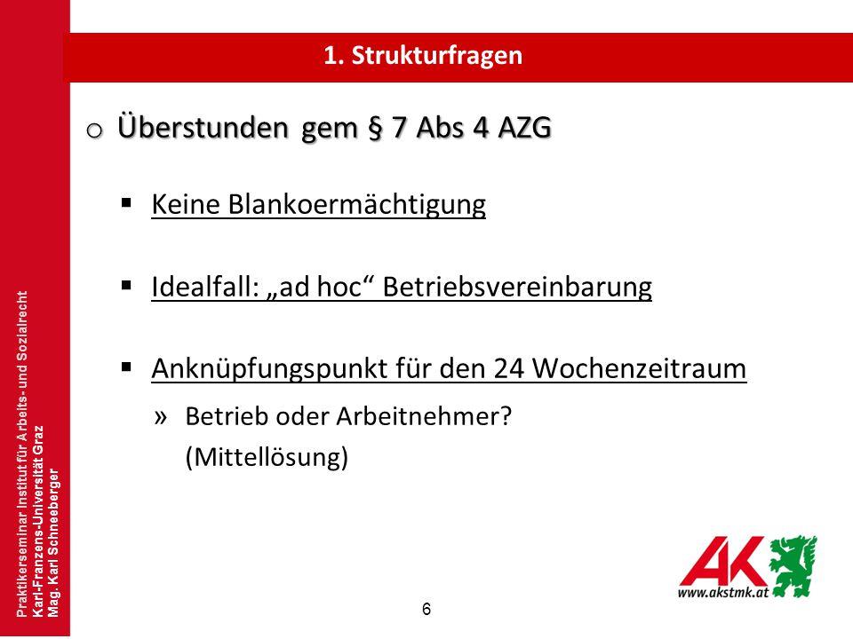 """6 o Überstunden gem § 7 Abs 4 AZG  Keine Blankoermächtigung  Idealfall: """"ad hoc"""" Betriebsvereinbarung  Anknüpfungspunkt für den 24 Wochenzeitraum »"""