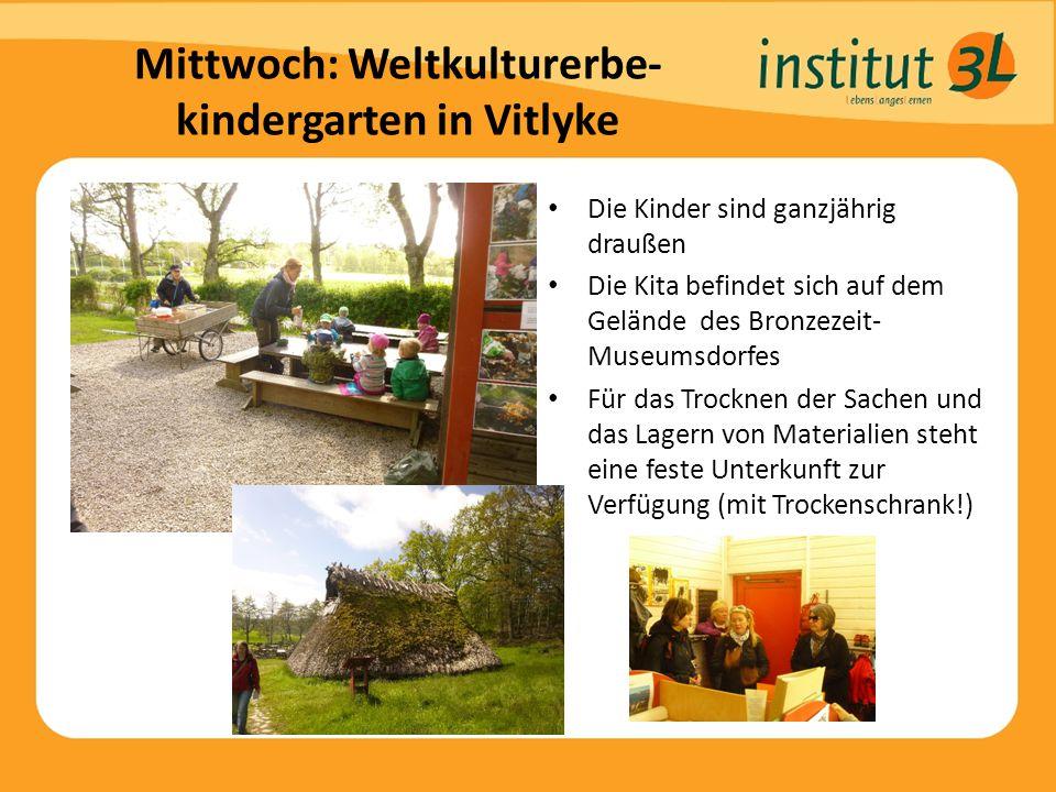 Die Kinder sind ganzjährig draußen Die Kita befindet sich auf dem Gelände des Bronzezeit- Museumsdorfes Für das Trocknen der Sachen und das Lagern von Materialien steht eine feste Unterkunft zur Verfügung (mit Trockenschrank!)