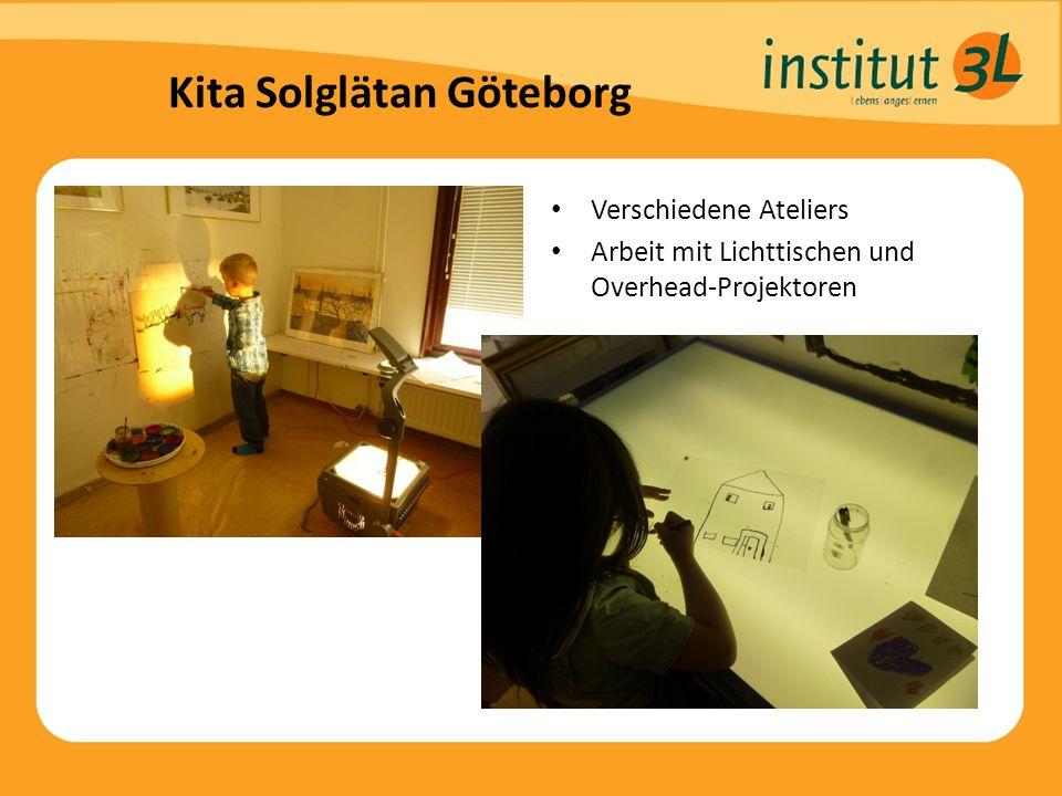 Kita Solglätan Göteborg Verschiedene Ateliers Arbeit mit Lichttischen und Overhead-Projektoren