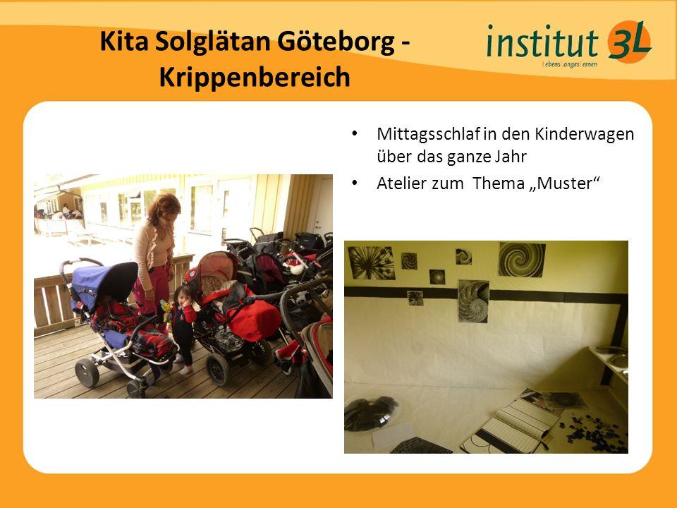 """Kita Solglätan Göteborg - Krippenbereich Mittagsschlaf in den Kinderwagen über das ganze Jahr Atelier zum Thema """"Muster"""