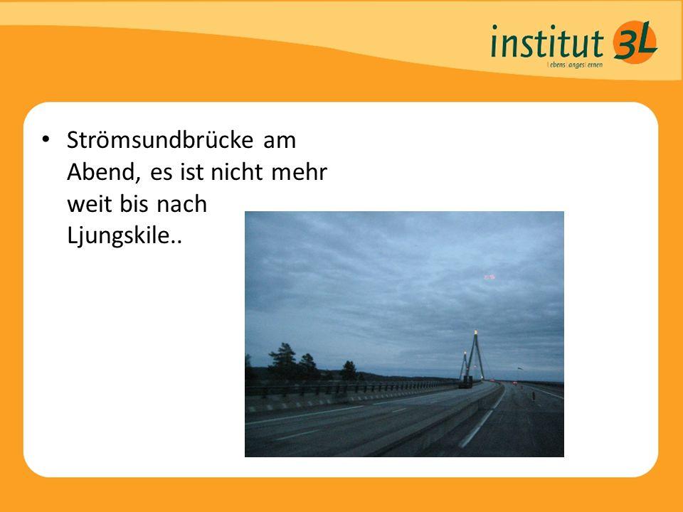 Strömsundbrücke am Abend, es ist nicht mehr weit bis nach Ljungskile..