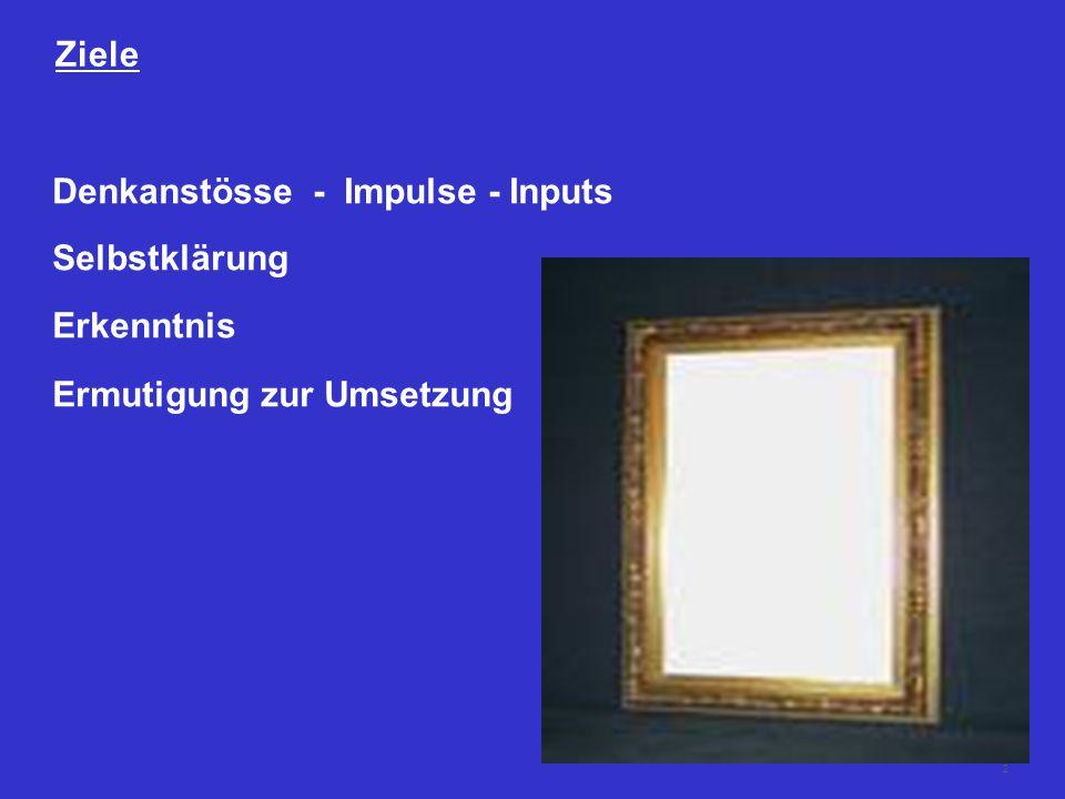 2 Ziele Denkanstösse - Impulse - Inputs Selbstklärung Erkenntnis Ermutigung zur Umsetzung