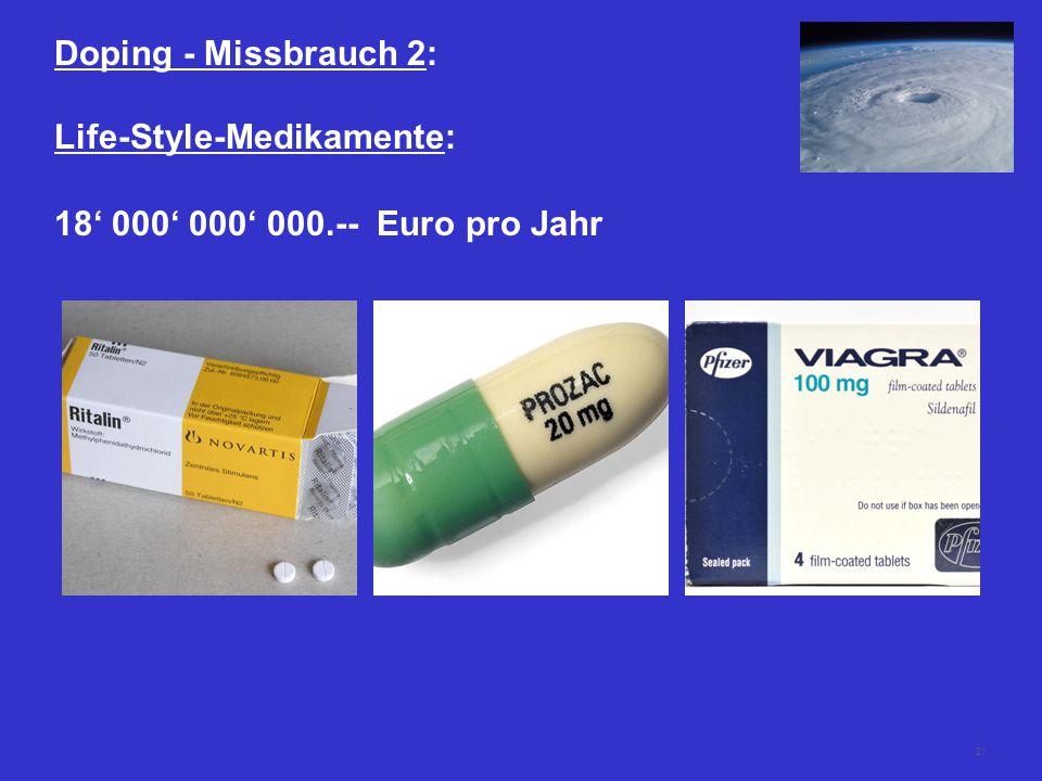 21 Doping - Missbrauch 2: Life-Style-Medikamente: 18' 000' 000' 000.-- Euro pro Jahr