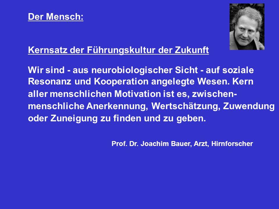 Der Mensch: Kernsatz der Führungskultur der Zukunft Wir sind - aus neurobiologischer Sicht - auf soziale Resonanz und Kooperation angelegte Wesen.