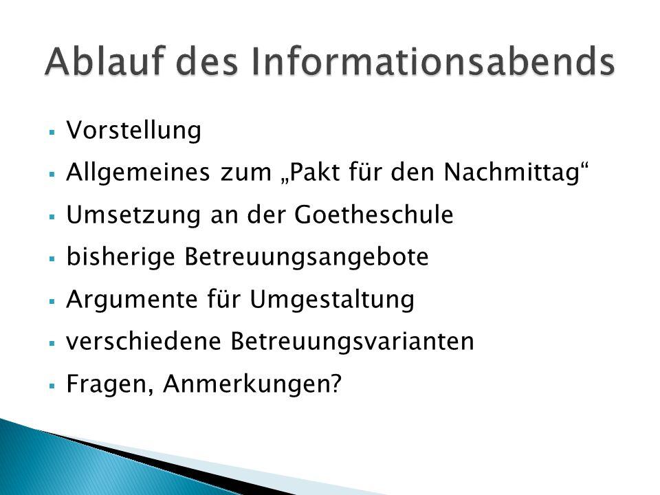 """ Vorstellung  Allgemeines zum """"Pakt für den Nachmittag""""  Umsetzung an der Goetheschule  bisherige Betreuungsangebote  Argumente für Umgestaltung"""