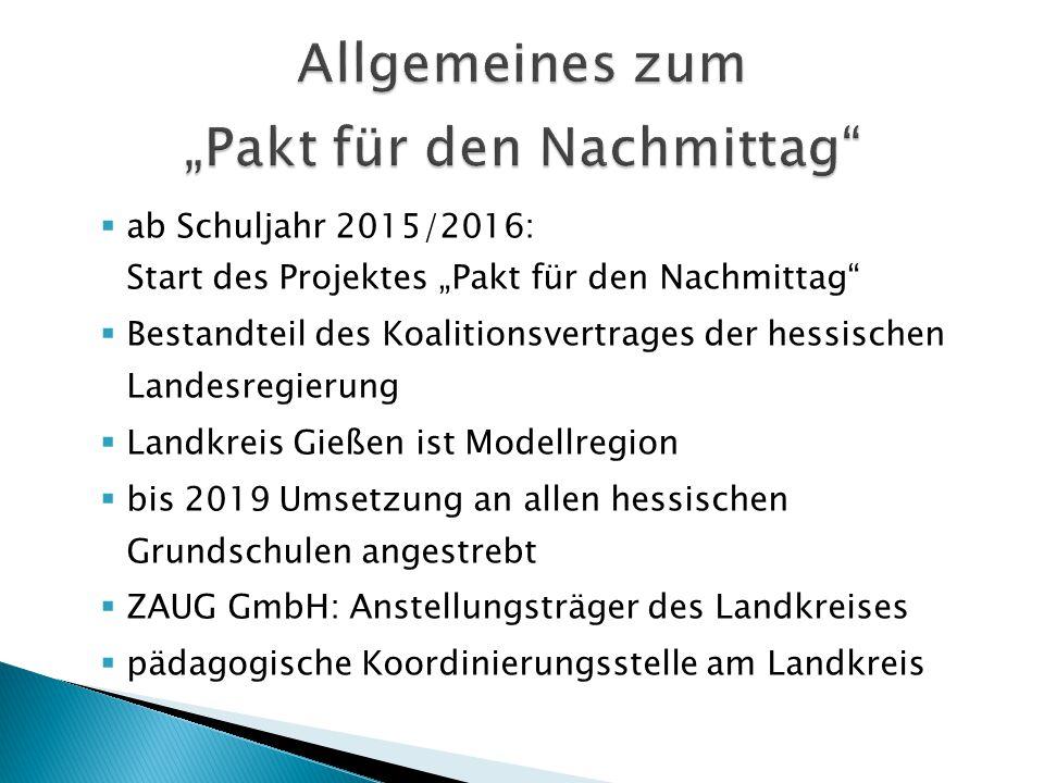 """ ab Schuljahr 2015/2016: Start des Projektes """"Pakt für den Nachmittag""""  Bestandteil des Koalitionsvertrages der hessischen Landesregierung  Landkre"""