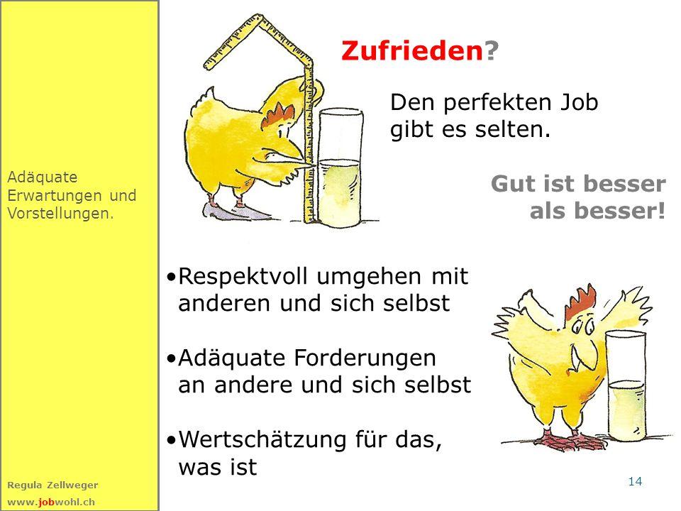 14 Regula Zellweger www.jobwohl.ch Zufrieden? Adäquate Erwartungen und Vorstellungen. Den perfekten Job gibt es selten. Gut ist besser als besser! Res