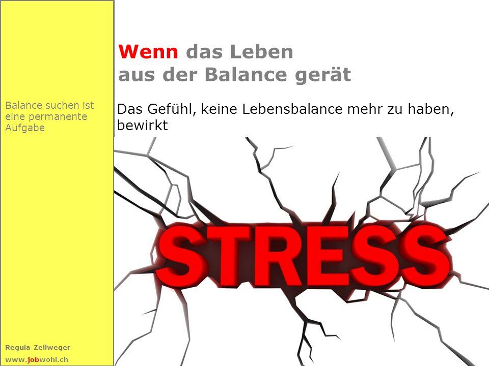 20 Regula Zellweger www.jobwohl.ch Balance suchen ist eine permanente Aufgabe Wenn das Leben aus der Balance gerät Das Gefühl, keine Lebensbalance mehr zu haben, bewirkt