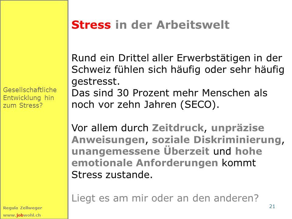 21 Regula Zellweger www.jobwohl.ch Stress in der Arbeitswelt Rund ein Drittel aller Erwerbstätigen in der Schweiz fühlen sich häufig oder sehr häufig