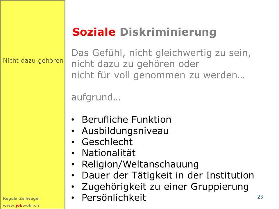 23 Regula Zellweger www.jobwohl.ch Nicht dazu gehören Soziale Diskriminierung Das Gefühl, nicht gleichwertig zu sein, nicht dazu zu gehören oder nicht
