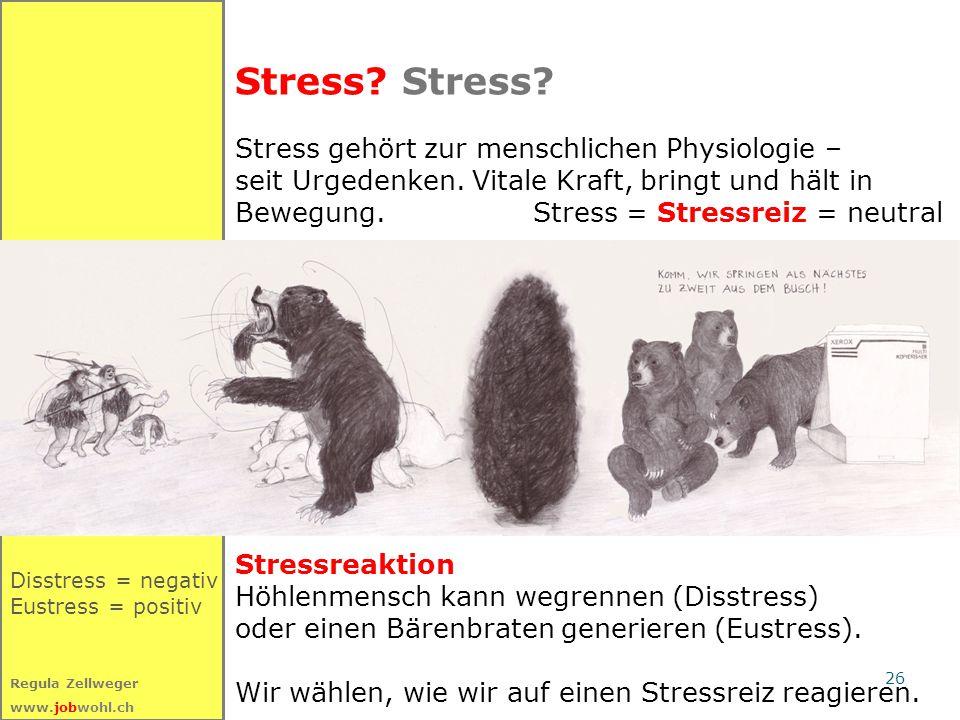 26 Regula Zellweger www.jobwohl.ch Stress? Disstress = negativ Eustress = positiv Stress gehört zur menschlichen Physiologie – seit Urgedenken. Vitale
