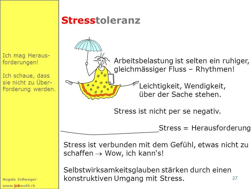 27 Regula Zellweger www.jobwohl.ch Stresstoleranz Ich mag Heraus- forderungen.