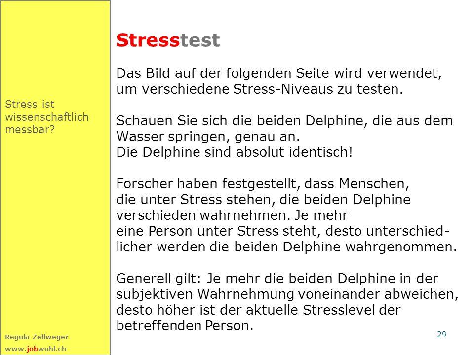 29 Regula Zellweger www.jobwohl.ch Stresstest Stress ist wissenschaftlich messbar.
