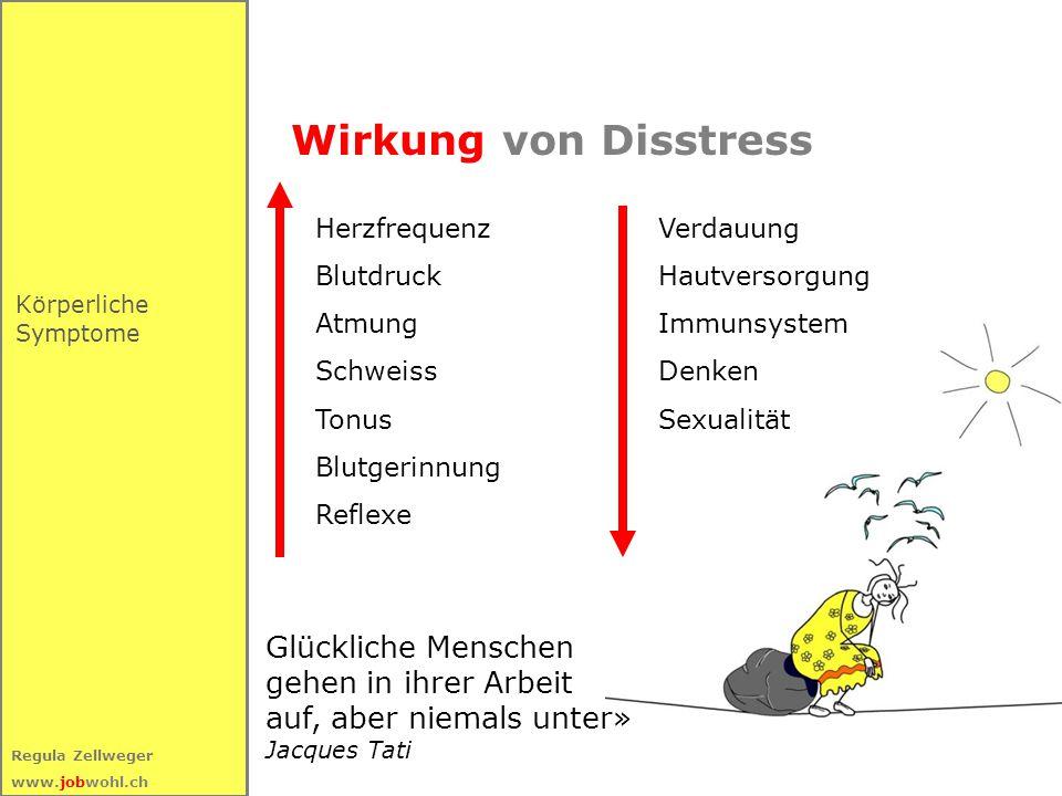 31 Regula Zellweger www.jobwohl.ch Wirkung von Disstress Körperliche Symptome Herzfrequenz Blutdruck Atmung Schweiss Tonus Blutgerinnung Reflexe Verda