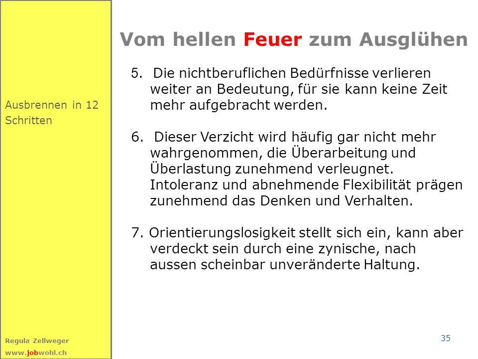 35 Regula Zellweger www.jobwohl.ch Ausbrennen in 12 Schritten Vom hellen Feuer zum Ausglühen 5. Die nichtberuflichen Bedürfnisse verlieren weiter an B