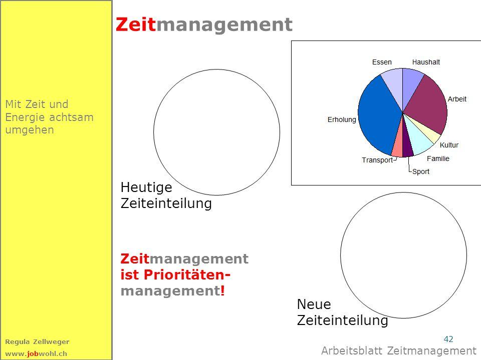42 Regula Zellweger www.jobwohl.ch Mit Zeit und Energie achtsam umgehen Zeitmanagement Heutige Zeiteinteilung Neue Zeiteinteilung Zeitmanagement ist P