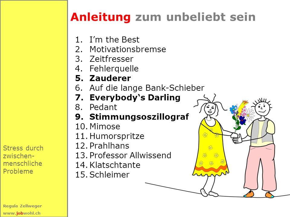46 Regula Zellweger www.jobwohl.ch Stress durch zwischen- menschliche Probleme Anleitung zum unbeliebt sein 1.I'm the Best 2.Motivationsbremse 3.Zeitf