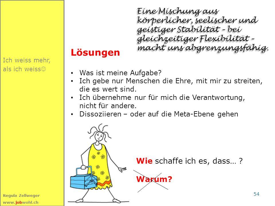 54 Regula Zellweger www.jobwohl.ch Lösungen Was ist meine Aufgabe? Ich gebe nur Menschen die Ehre, mit mir zu streiten, die es wert sind. Ich übernehm