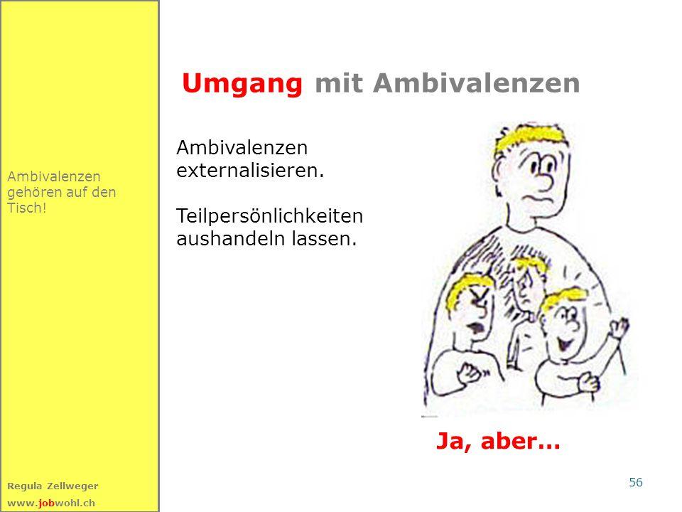 56 Regula Zellweger www.jobwohl.ch Umgang mit Ambivalenzen Ambivalenzen gehören auf den Tisch! Ambivalenzen externalisieren. Teilpersönlichkeiten aush