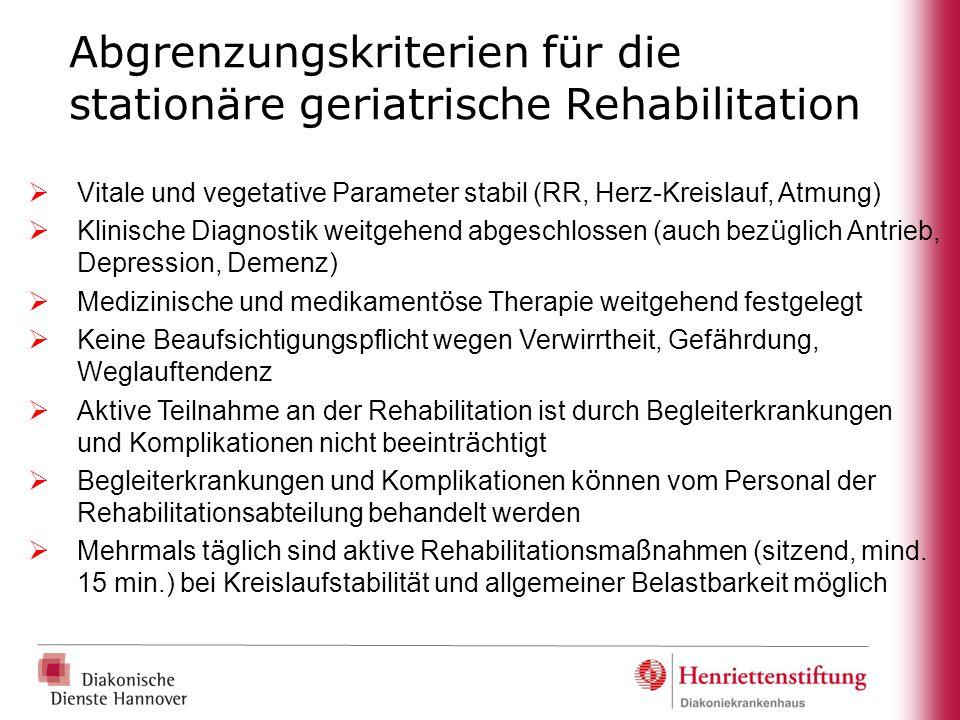 Abgrenzungskriterien für die stationäre geriatrische Rehabilitation  Vitale und vegetative Parameter stabil (RR, Herz-Kreislauf, Atmung)  Klinische
