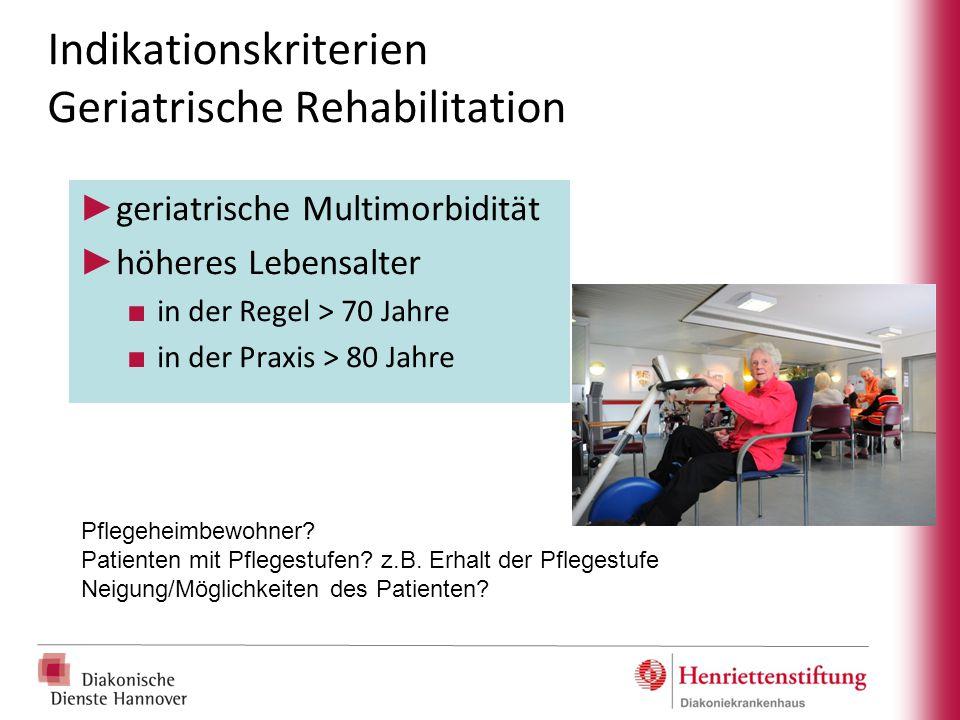 Indikationskriterien Geriatrische Rehabilitation ► geriatrische Multimorbidität ► höheres Lebensalter ■ in der Regel > 70 Jahre ■ in der Praxis > 80 J
