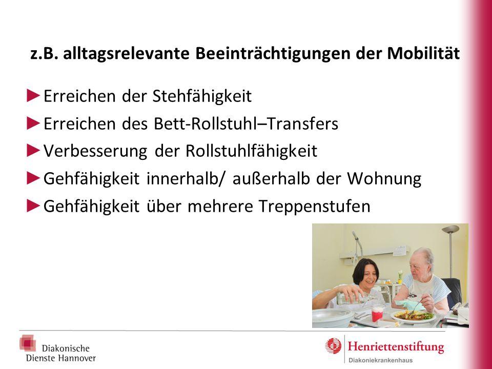 z.B. alltagsrelevante Beeinträchtigungen der Mobilität ► Erreichen der Stehfähigkeit ► Erreichen des Bett-Rollstuhl–Transfers ► Verbesserung der Rolls