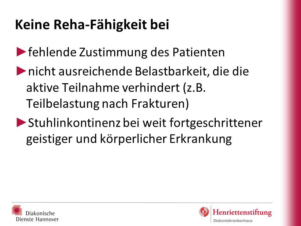 Keine Reha-Fähigkeit bei ► fehlende Zustimmung des Patienten ► nicht ausreichende Belastbarkeit, die die aktive Teilnahme verhindert (z.B. Teilbelastu