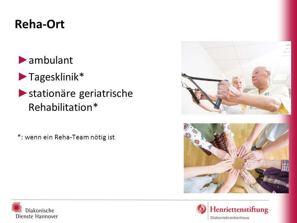 Reha-Ort ► ambulant ► Tagesklinik* ► stationäre geriatrische Rehabilitation* *: wenn ein Reha-Team nötig ist