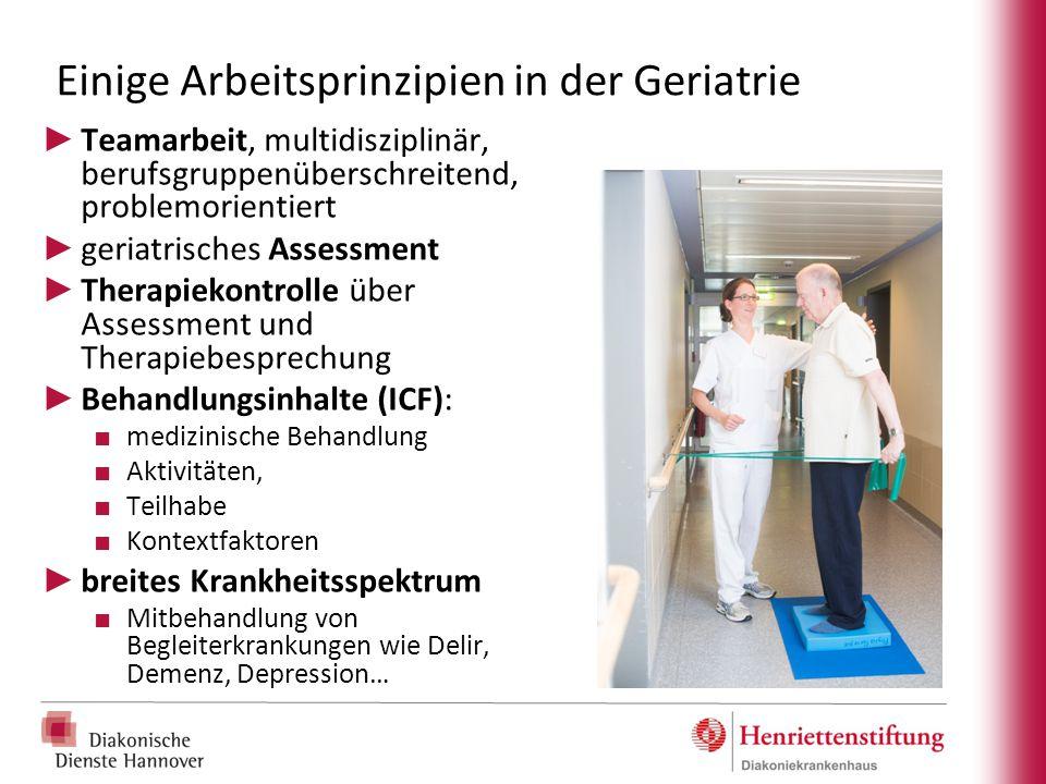 Einige Arbeitsprinzipien in der Geriatrie ► Teamarbeit, multidisziplinär, berufsgruppenüberschreitend, problemorientiert ► geriatrisches Assessment ►