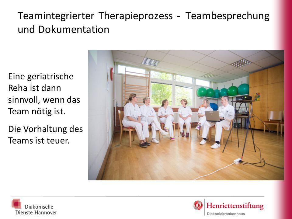 Teamintegrierter Therapieprozess - Teambesprechung und Dokumentation Eine geriatrische Reha ist dann sinnvoll, wenn das Team nötig ist. Die Vorhaltung
